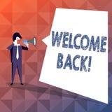 Teksta znaka seansu powitanie Z powrotem Konceptualna fotografia używać witać powrót someone umieszczać biznesmena lub coś royalty ilustracja