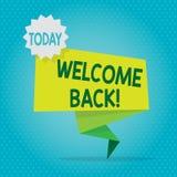Teksta znaka seansu powitanie Z powrotem Konceptualna fotografia używać witać powrót someone umieszczać Pustej przestrzeni zieleń ilustracji