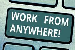 Teksta znaka seansu praca Od Gdziekolwiek Konceptualna fotografia samozatrudniający się i najęta pracować dla różnych firm Klawia zdjęcie royalty free