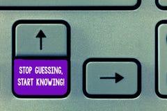 Teksta znaka seansu przerwa Zgadywa początku Znać Konceptualna fotografia no zgadywa dostaje wiedza Klawiaturowego klucz aby upew zdjęcie stock