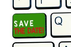 Teksta znaka seansu Save data Konceptualna fotografia Pamięta rozkład Mark kalendarzowy zaproszenie obrazy royalty free