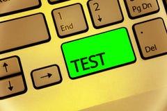 Teksta znaka seansu testa Konceptualnej fotografii Akademicka systemowa procedura ocenia niezawodności biegłości Klawiaturowego k zdjęcia stock