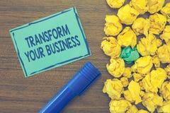 Teksta znaka seansu transformata Twój biznes Konceptualna fotografia Modyfikuje energię na innowaci i podtrzymywalnym przyroscie zdjęcia royalty free