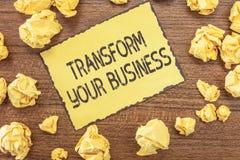 Teksta znaka seansu transformata Twój biznes Konceptualna fotografia Modyfikuje energię na innowaci i podtrzymywalnym przyroscie obrazy stock