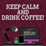 Teksta znaka seansu utrzymania napoju I spokoju kawa Konceptualna fotografia zach?ca demonstrowa? cieszy? si? kofeina nap?j i rel royalty ilustracja