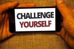 Teksta znaka seansu wyzwanie Yourself Konceptualna fotografia Pokonujący zaufania ośmielenia ulepszenia Silnego wyzwania Jutowy w obraz royalty free