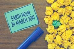 Teksta znaka seansu ziemi godzina 24 Marzec 2019 Konceptualna fotografia Świętuje trwałości Save planeta Zaświeca Daleko obrazy royalty free