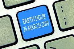 Teksta znaka seansu ziemi godzina 24 Marzec 2019 Konceptualna fotografia Świętuje trwałości Save planeta Zaświeca Daleko zdjęcia stock