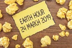 Teksta znaka seansu ziemi godzina 24 Marzec 2019 Konceptualna fotografia Świętuje trwałości Save planeta Zaświeca Daleko zdjęcie stock