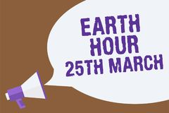 Teksta znaka seansu ziemi godzina 25Th Marzec Konceptualny fotografia symbolu oddanie planetować Uorganizowanego Światowego fundu Obrazy Royalty Free