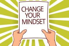 Teksta znaka seansu zmiana Twój Mindset Konceptualna fotografia zamienia twój wiara sposobu myślenia ścieżki papieru strony kapit royalty ilustracja