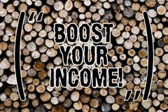 Teksta znaka seansu zwiększenie Twój dochód Konceptualna fotografia ulepsza twój zapłatę Freelancing Na pół etatu praca Ulepsza D obrazy royalty free