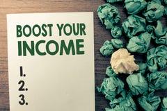 Teksta znaka seansu zwiększenie Twój dochód Konceptualny fotografia wzrost twój pieniądze Inwestorski Freelancing Handlować zdjęcie royalty free