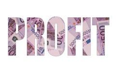 Teksta zysk z euro banknotu tłem, odosobniony biel Fotografia Royalty Free