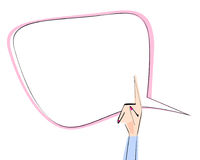 Tekstbel en vrouwelijke hand met het benadrukken van vinger Vector illustratie Pictogrammen voor onderwijs, zaken, mededeling, in Royalty-vrije Stock Afbeelding