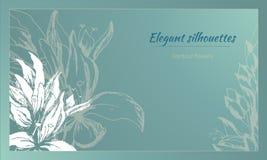 Tekstframe met contour witte bloemen op een groene achtergrond enkel Geregend Vector illustratie stock illustratie