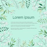 Tekstframe met groene en contourbladeren Contour Clipart voor gebruik in ontwerp Groene prentbriefkaaraffiche voor groeten, uitno stock illustratie