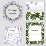 Tekstframes met blauwe en roze kleuren voor collectieve identiteit Malplaatjes voor adreskaartjes en prentbriefkaaren met een con stock illustratie