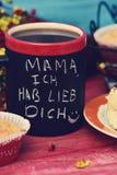 Tekstmamma ich hab lieb dich, houd ik van u mamma in het Duits Stock Foto