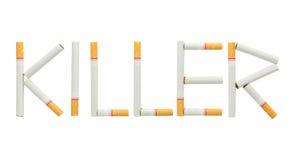Tekstmoordenaar van sigaret wordt op witte achtergrond wordt geïsoleerd gemaakt die Royalty-vrije Stock Afbeeldingen