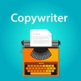 Tekstschrijverbanen het typen het bureau van de machineschrijfmachine het werk vacature vector illustratie