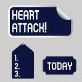 Tekstteken dat Hartaanval toont Conceptueel foto plotseling voorkomen van hartinfarct die in doods Lege Kleur resulteren stock illustratie