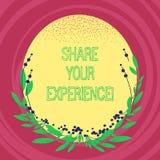 Tekstteken die Aandeel Uw Ervaring tonen De conceptuele foto die over de vaardigheden vertellen heeft u door tijdspatie bereikt royalty-vrije illustratie