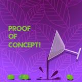 Tekstteken die Bewijs van Concept tonen Conceptueel fotobewijsmateriaal die typisch uit experiment of projectcocktail voortkomen vector illustratie