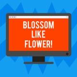 Tekstteken die Bloesem zoals Bloem tonen Conceptuele fotoinstallatie of boom die de zaden of fruit de Lege Computer zullen vormen stock illustratie