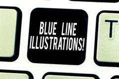 Tekstteken die Blue Line-Illustraties tonen Conceptuele foto die in de bouw van een online aanwezigheid en vertrouwenstoetsenbord stock fotografie