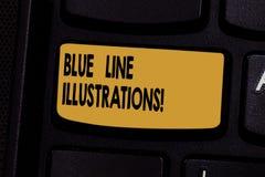 Tekstteken die Blue Line-Illustraties tonen Conceptuele foto die in de bouw van een online aanwezigheid en vertrouwenstoetsenbord royalty-vrije stock afbeelding
