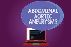 Tekstteken die Buik Aortaaneurysmquestion tonen Conceptuele foto die de uitbreiding van aorta krijgen te kennen vector illustratie