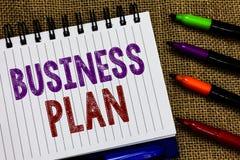 Tekstteken die Businessplan tonen Conceptuele de Doelstellingen en de Doelstellingen Financiële Projecties Open spiraal van de fo stock fotografie