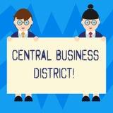 Tekstteken die Centraal Bedrijfsdistrict tonen Conceptuele commerciële foto en commercieel centrum van een een stadsmannetje en W stock illustratie