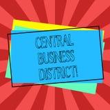Tekstteken die Centraal Bedrijfsdistrict tonen Conceptuele commerciële foto en commercieel centrum van een stadsstapel van Spatie stock illustratie