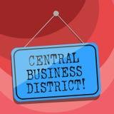 Tekstteken die Centraal Bedrijfsdistrict tonen Conceptuele commerciële foto en commercieel centrum van stad het Lege Hangen royalty-vrije illustratie