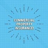 Tekstteken die Commercieel eigendomverzekering tonen De conceptuele foto biedt bescherming tegen de meeste Lijnen van de risico's royalty-vrije illustratie