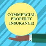Tekstteken die Commercieel eigendomverzekering tonen De conceptuele foto verstrekt de bescherming tegen de meeste risicoanalyse's vector illustratie