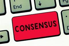 Tekstteken die Consensus tonen Conceptuele fotoconsensus over bijzondere onderworpen gebeurtenis of actietoetsenbordsleutel vector illustratie