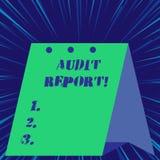 Tekstteken die Controleverslag tonen Conceptueel foto Geschreven advies van een auditor over bedrijven financiële status royalty-vrije illustratie