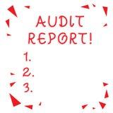 Tekstteken die Controleverslag tonen Conceptueel foto Geschreven advies van een auditor over het Rood van de bedrijven financi?le royalty-vrije illustratie
