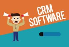 Tekstteken die Crm-Software tonen Conceptuele analysisagement van de fotoklantrelatie die wordt gebruikt om met klanten in dienst royalty-vrije illustratie