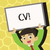 Tekstteken die Cv tonen Het conceptuele fotocurriculum vitae hervat Infographics-Baan Zoekend de Jongelui van de Werknemersrekrut stock illustratie