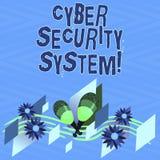 Tekstteken die Cyber-Veiligheidssysteem tonen Conceptuele fototechnieken om computers tegen Kleurrijk binnendringen in een beveil vector illustratie