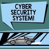 Tekstteken die Cyber-Veiligheidssysteem tonen Conceptuele fototechnieken om computers tegen snel het binnendringen in een beveili stock illustratie