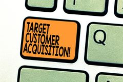 Tekstteken die de Aanwinst van de Doelklant tonen De conceptuele foto die een consument overreden om een bedrijf s te kopen is go stock foto