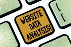 Tekstteken die de Analyse van Websitegegevens tonen Conceptuele fotoanalyse en rapport van Webgegevens voor het verbeteren van we royalty-vrije stock afbeeldingen