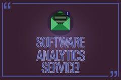 Tekstteken die de Dienst van Softwareanalytics tonen Conceptuele die foto wordt gebruikt om verrichtingen te verbeteren en Open o stock illustratie