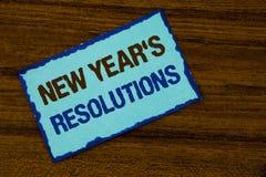 Tekstteken die de Resoluties van Nieuwjaren tonen Conceptuele fotodoelstellingen Doelstellingendoelstellingen Besluiten voor volg Stock Afbeeldingen