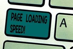 Tekstteken die de Snelheid van de Paginalading tonen De conceptuele fototijd die het aan download en vertoningsinhoud van de sleu stock afbeelding